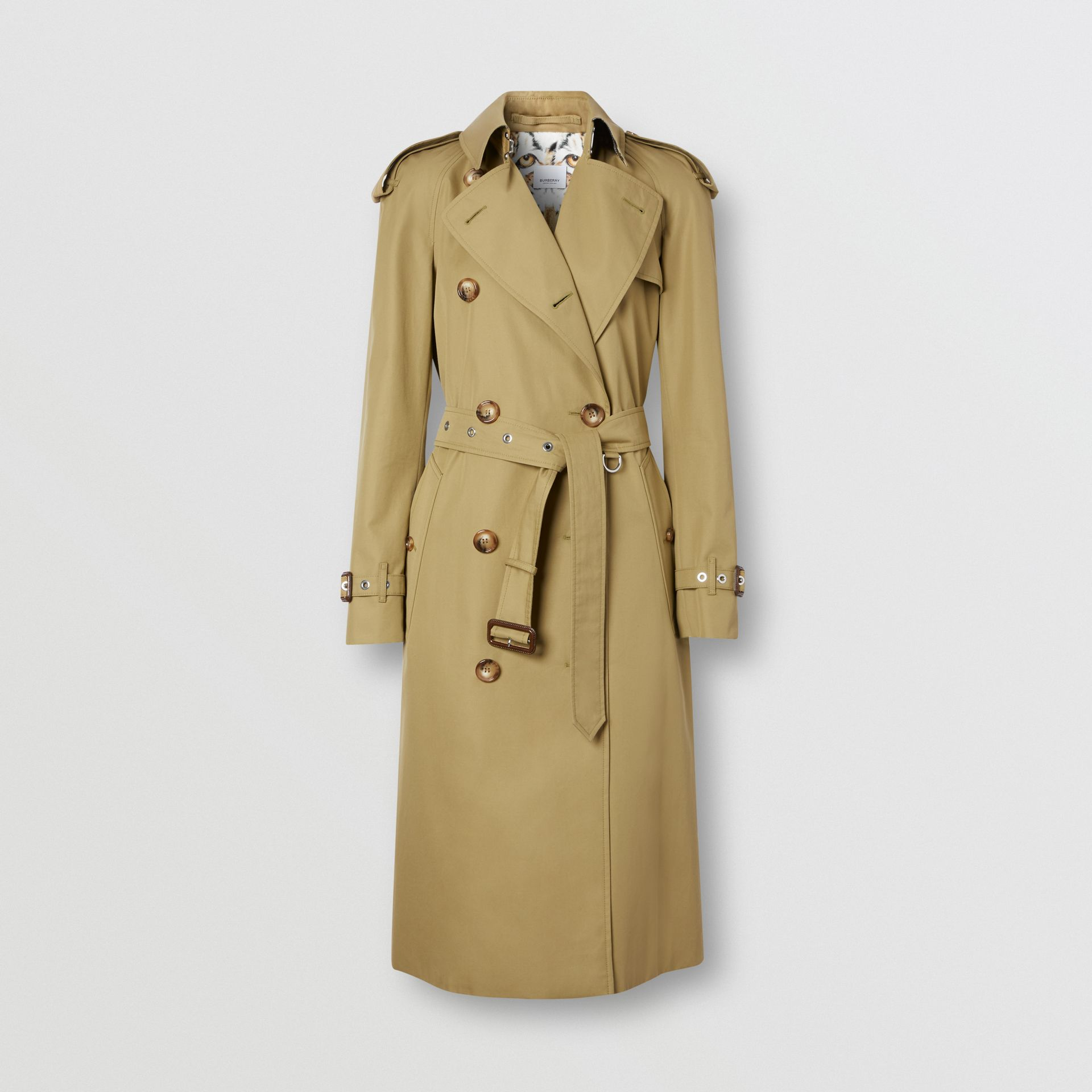 Animalia Print-lined Cotton Gabardine Trench Coat in Rich Olive - Women | Burberry Canada - gallery image 3