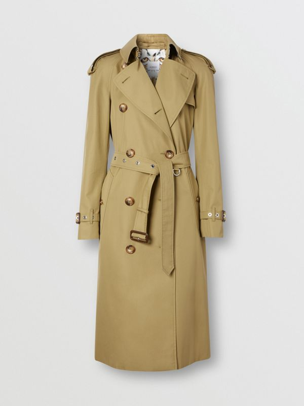 Animalia Print-lined Cotton Gabardine Trench Coat in Rich Olive - Women | Burberry Canada - cell image 3