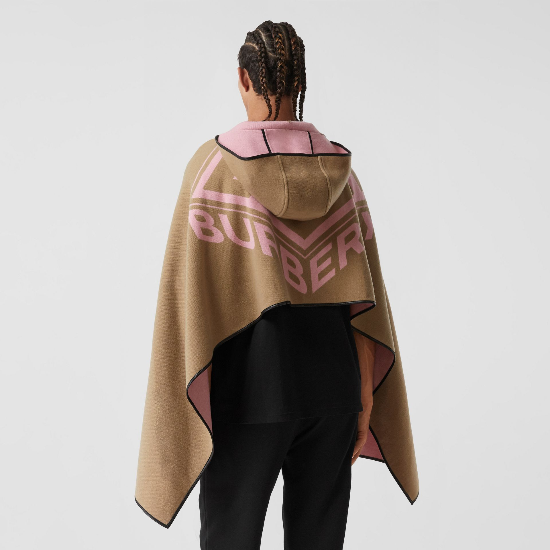 Logo Graphic Wool Cotton Jacquard Hooded Cape in Archive Beige | Burberry - gallery image 2