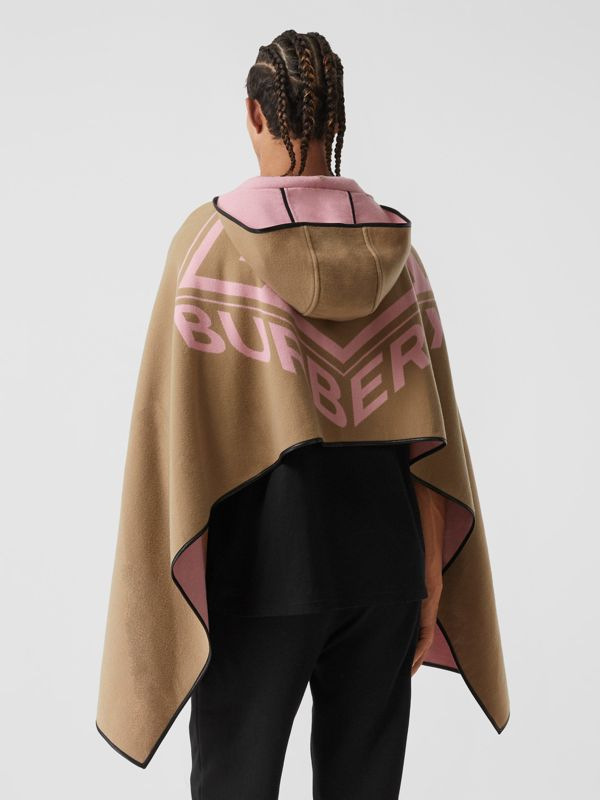 Logo Graphic Wool Cotton Jacquard Hooded Cape in Archive Beige | Burberry - cell image 2