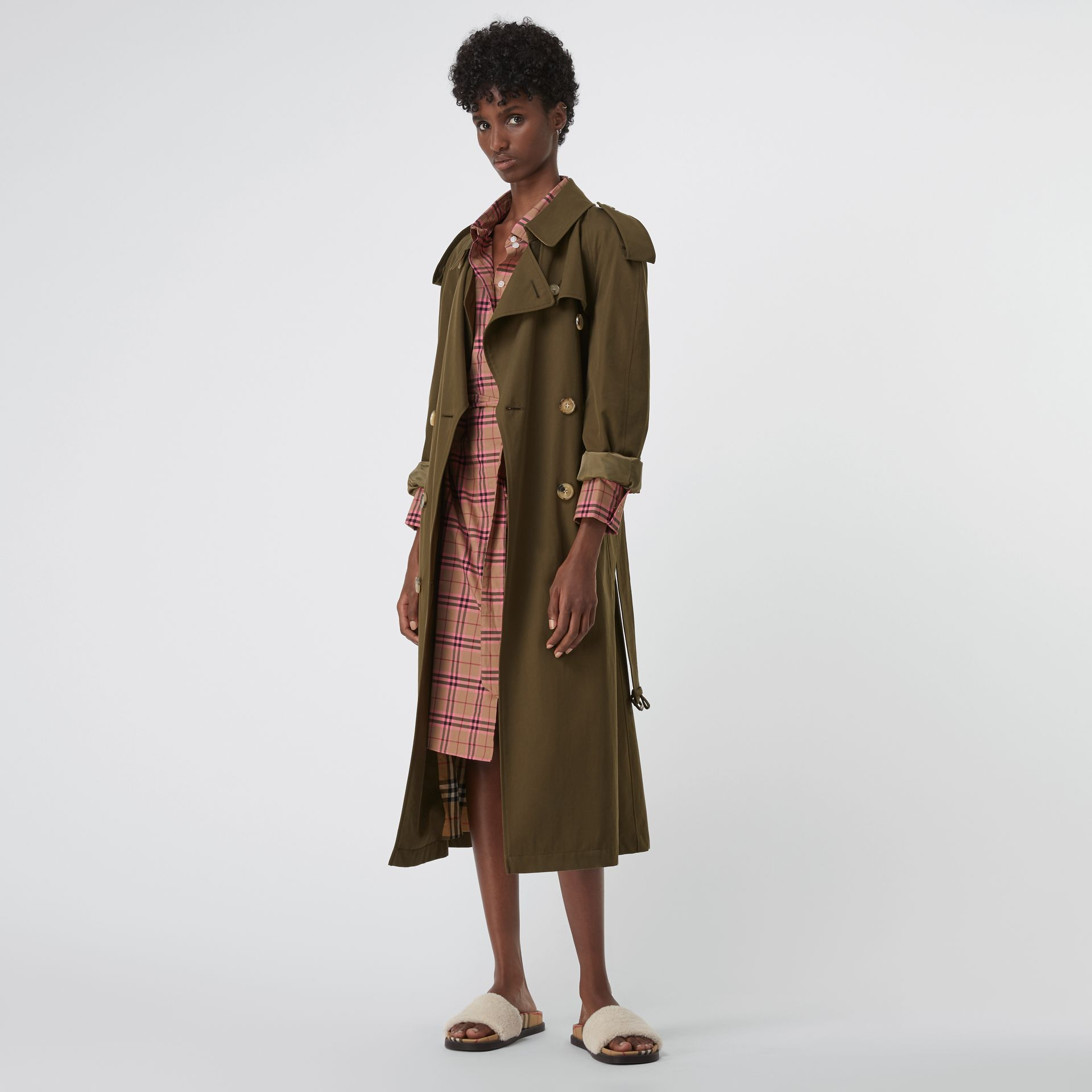 Check Cotton Shirt Dress in Pomegranate Pink - Women | Burberry United States - gallery image 0