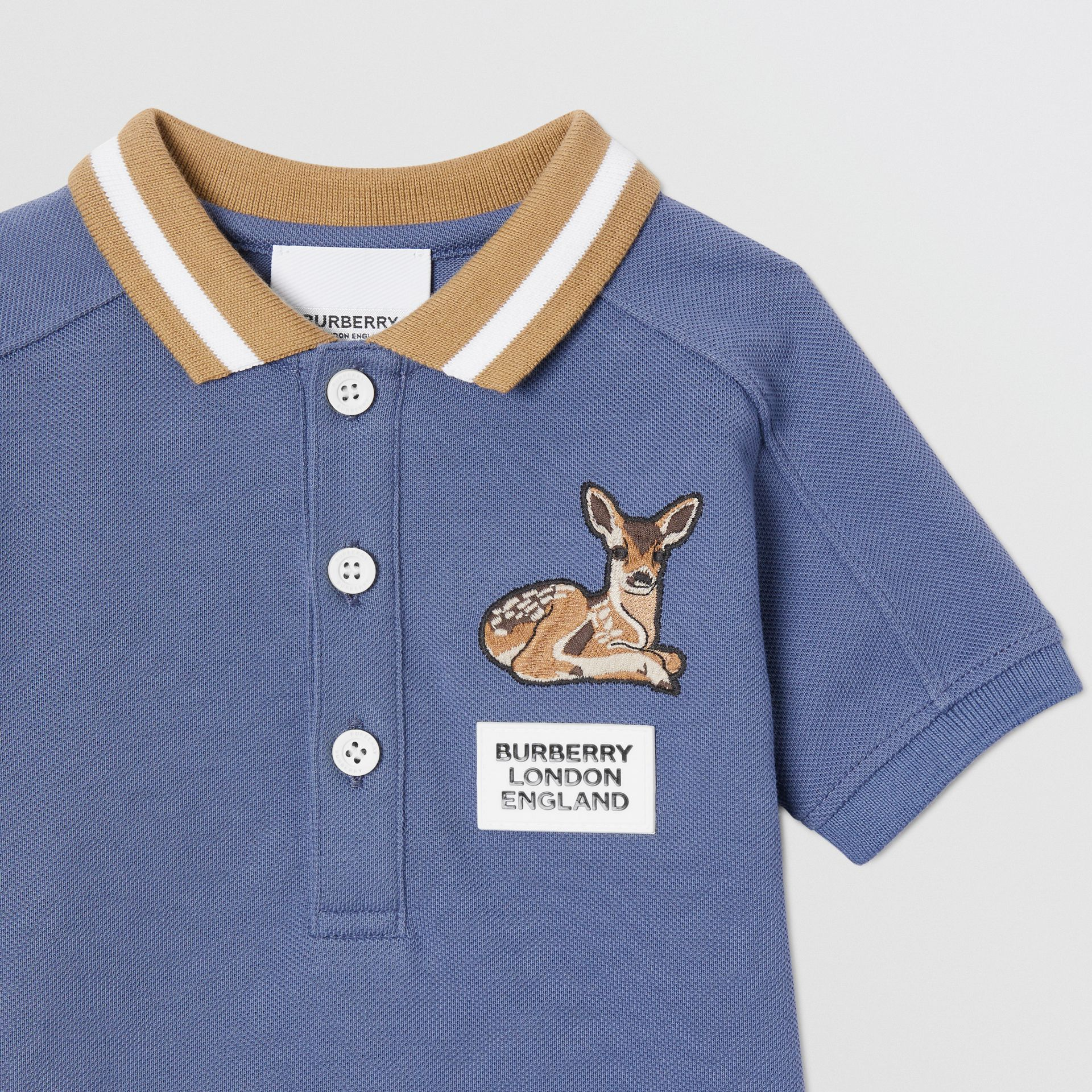 Deer Motif Cotton Polo Shirt in Steel Blue - Children | Burberry - gallery image 4