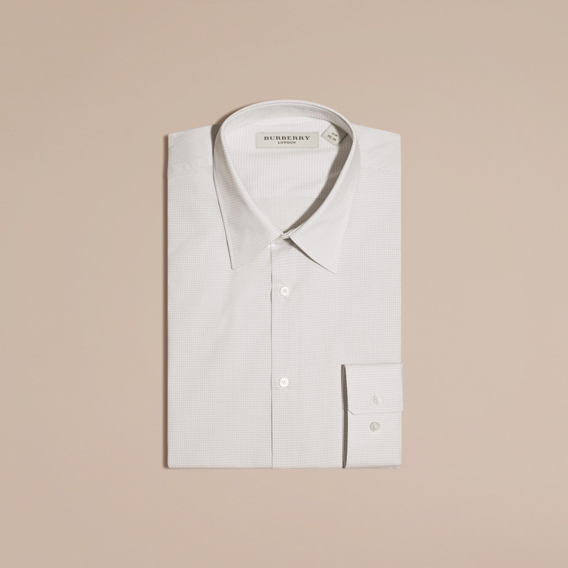 Citygrau Schmal geschnittenes Hemd aus Baumwollpopelin mit Vichy-Muster - Galerie-Bild 6