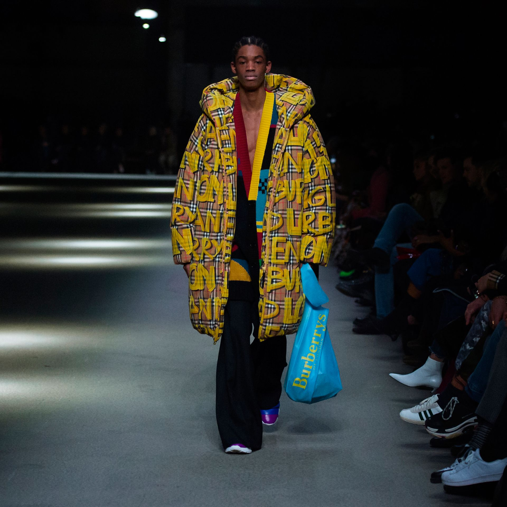 Graffiti Vintage Check Down-filled Puffer Coat in Bright Yellow | Burberry - gallery image 5