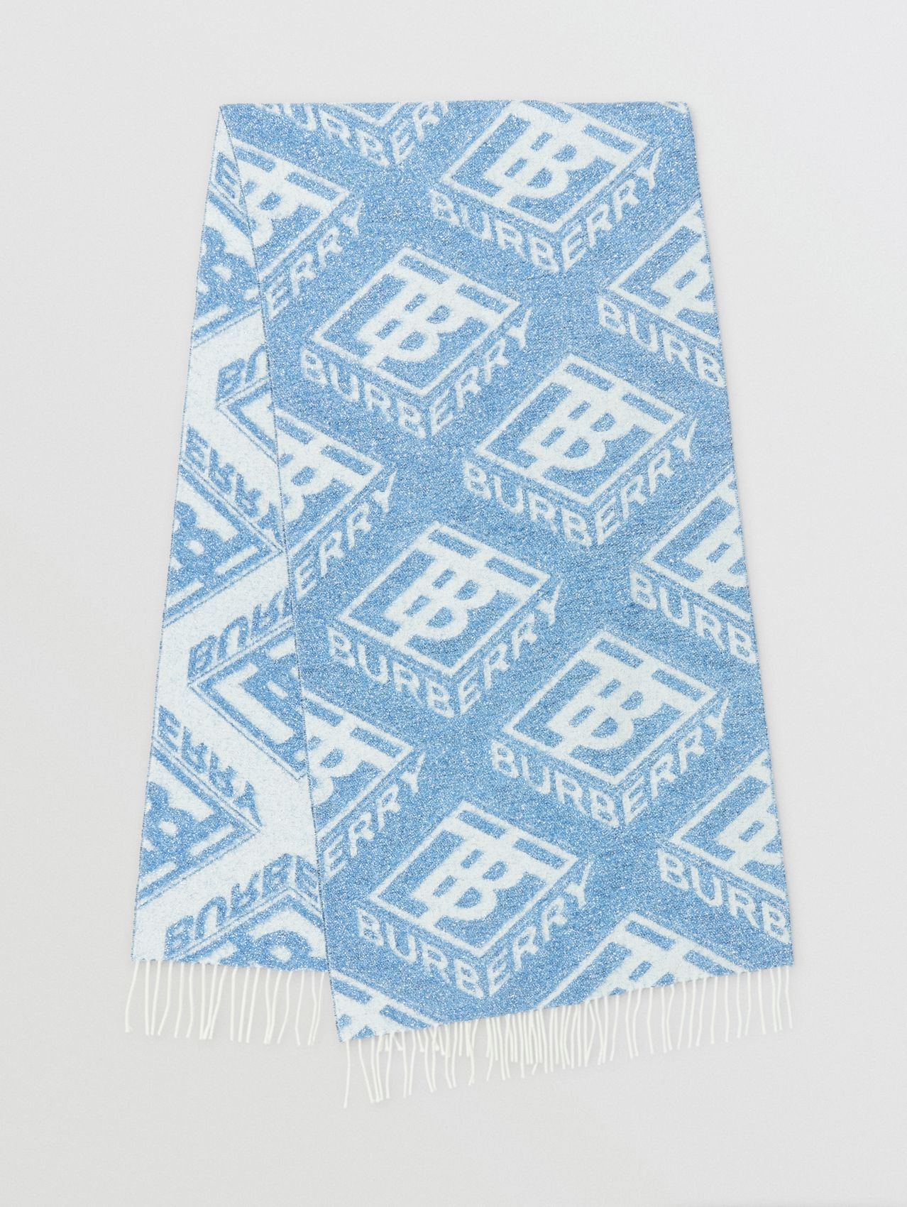 Metallic Monogram Wool Blend Scarf in Pale Blue