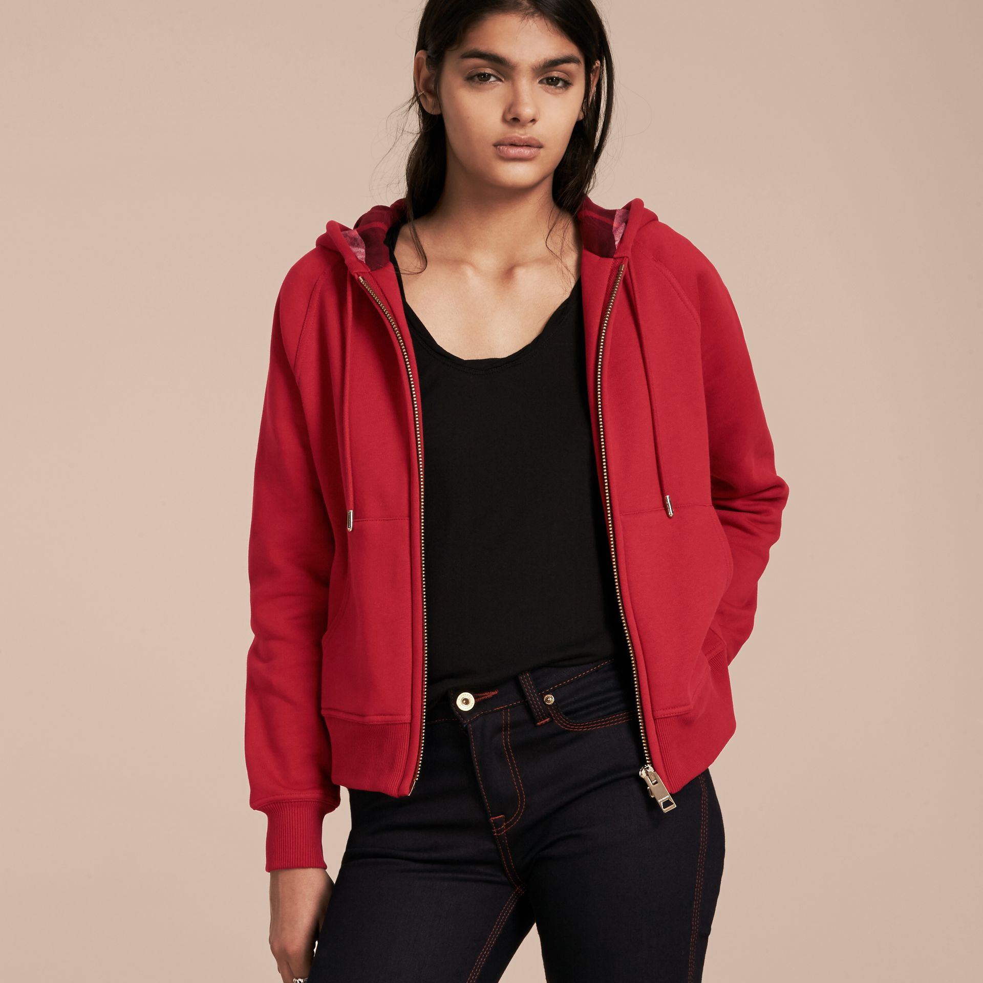 Hooded Zip-front Cotton Blend  Sweatshirt in Parade Red - Women | Burberry - gallery image 6