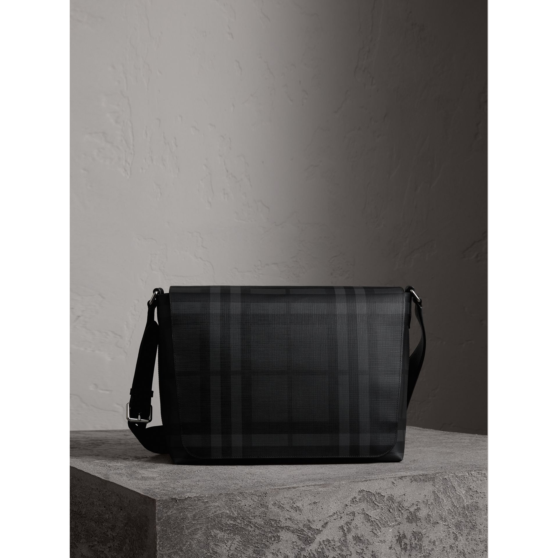 Large London Check Messenger Bag in Charcoal/black | Burberry - gallery image 1