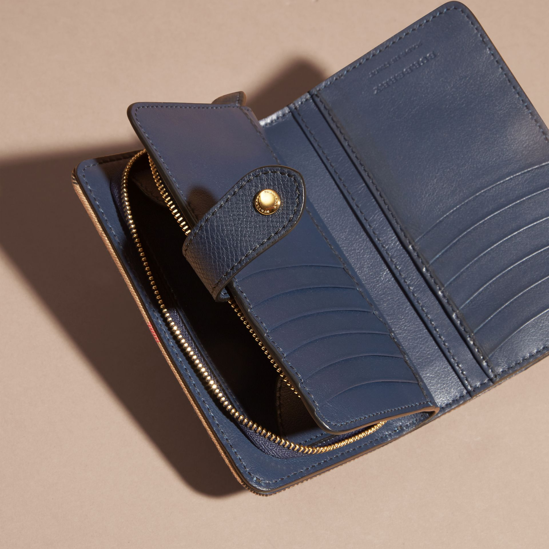 House Check and Leather Wallet in Ink Blue - gallery image 5