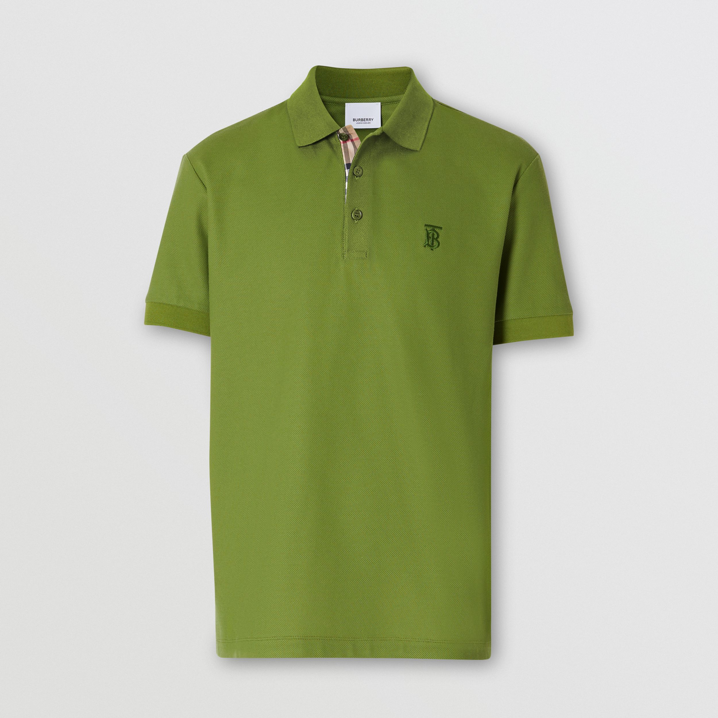 Monogram Motif Cotton Piqué Polo Shirt in Cedar Green - Men | Burberry - 4