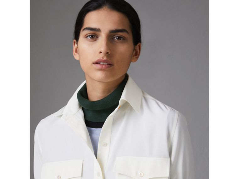 Silk Tunic Shirt in Natural White - Women | Burberry - cell image 1