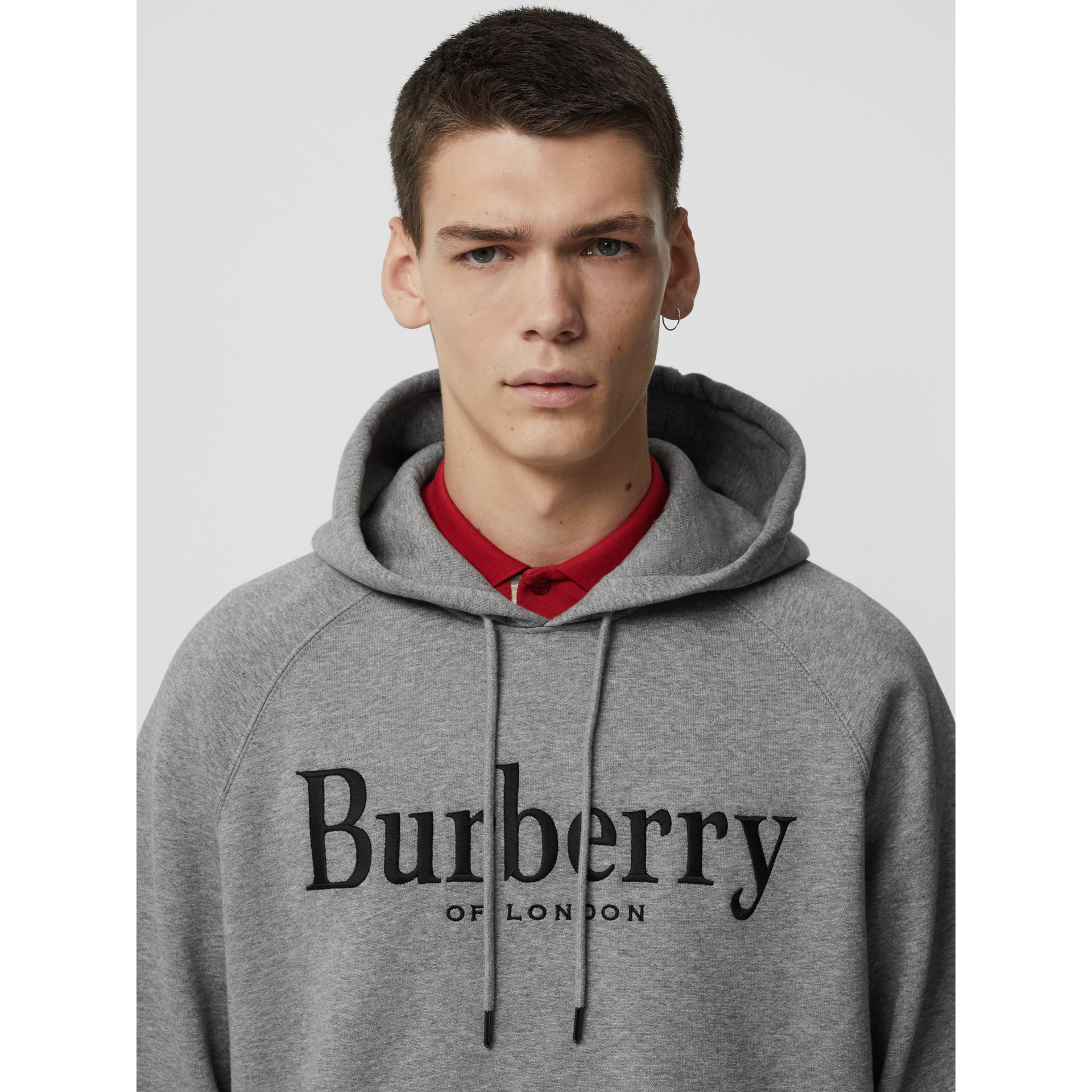 Embroidered Logo Jersey Hoodie in Pale Grey Melange - Men | Burberry Singapore - gallery image 1