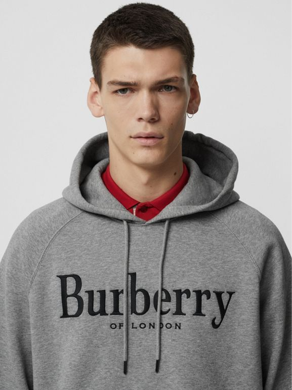 Embroidered Logo Jersey Hoodie in Pale Grey Melange - Men | Burberry Australia - cell image 1