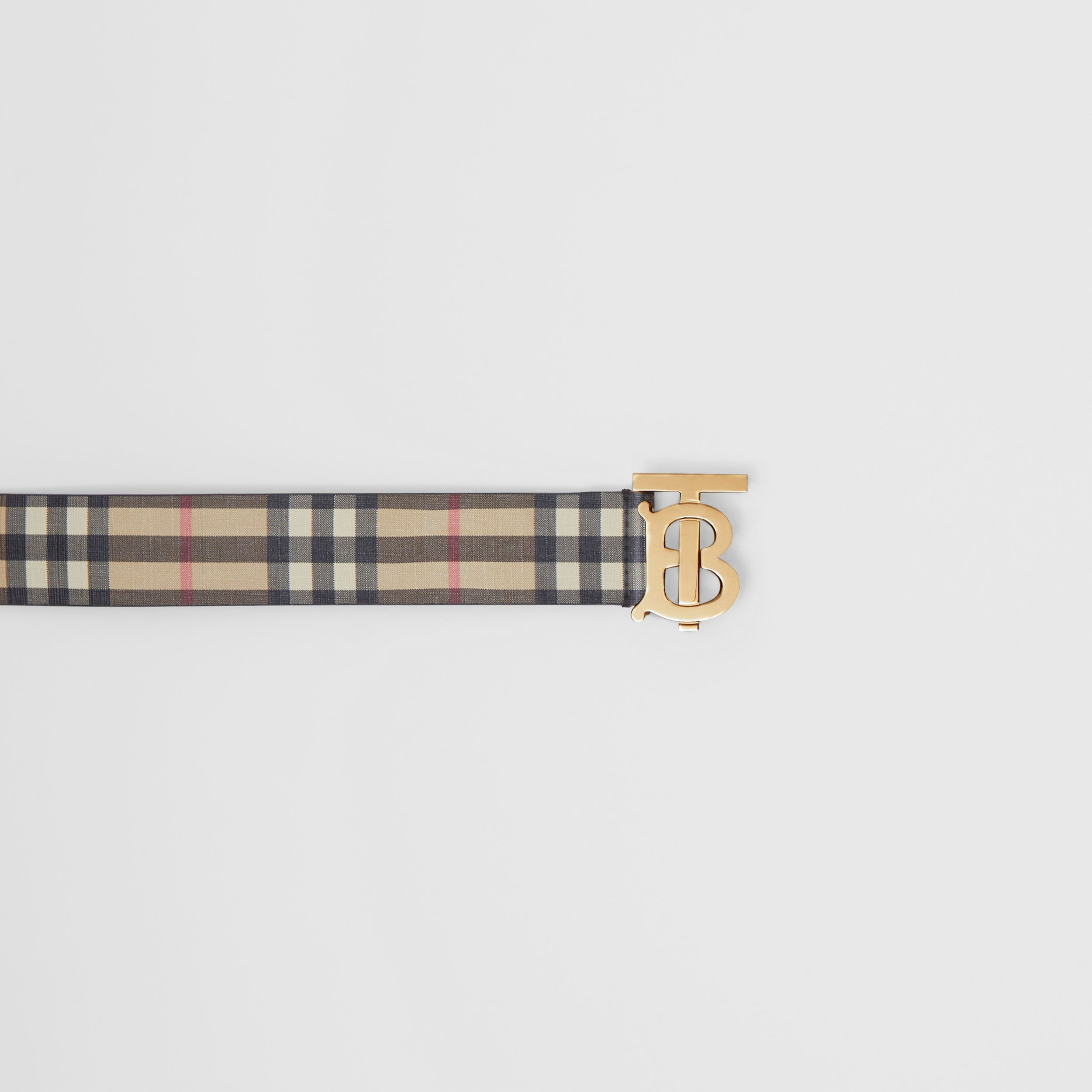 Monogram Motif Vintage Check E-canvas Belt in Archive Beige - Women | Burberry Hong Kong S.A.R. - 2