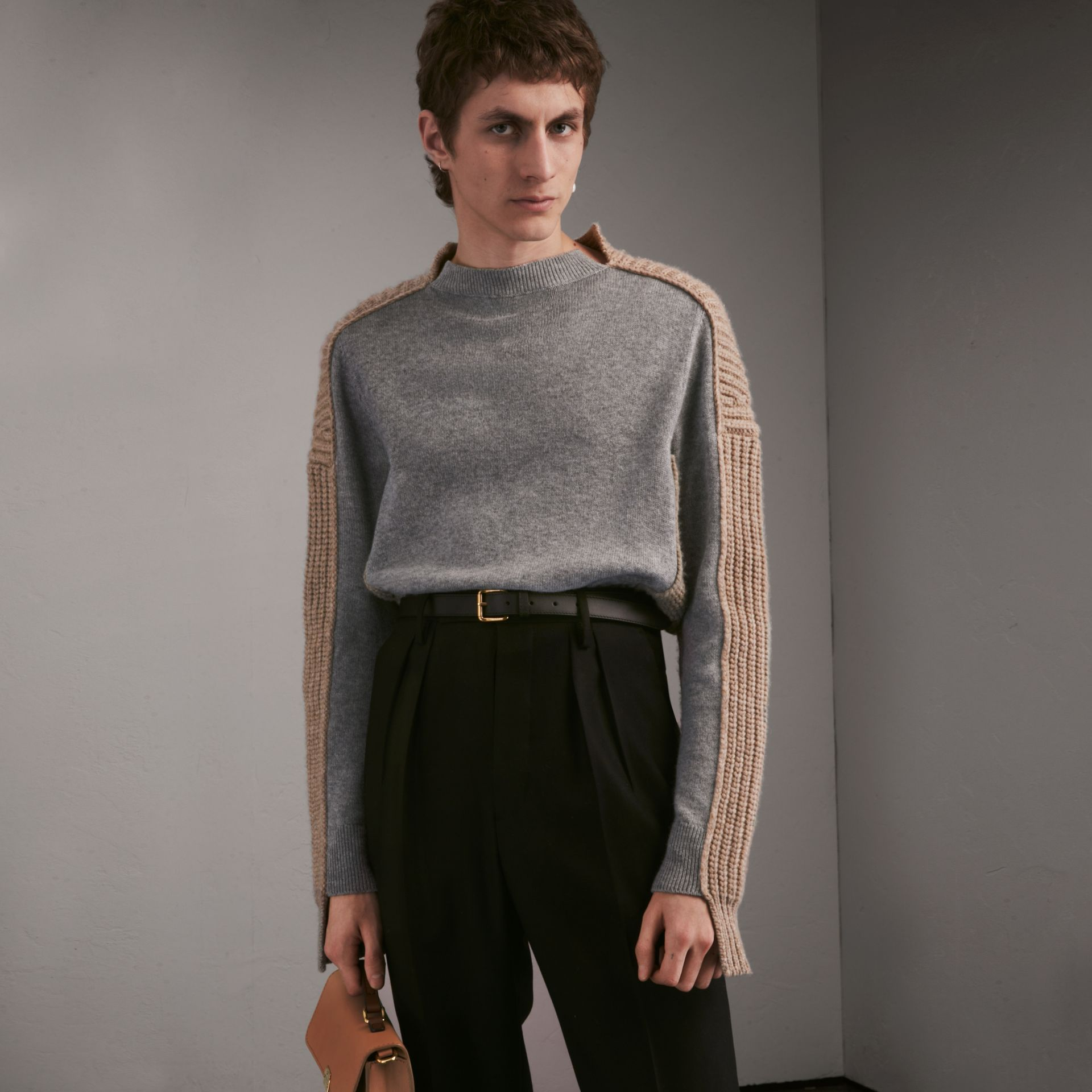 Panelled Cashmere Fisherman Sweater - Men | Burberry - gallery image 1