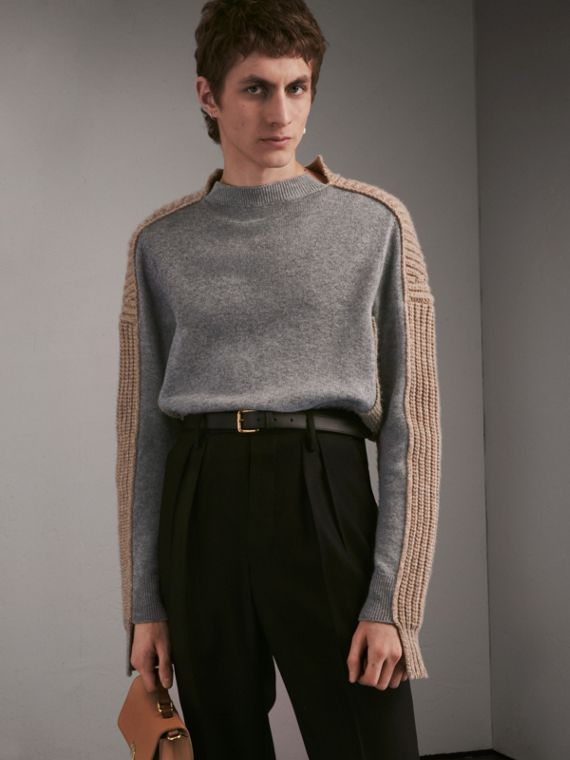 Panelled Cashmere Fisherman Sweater - Men | Burberry Singapore