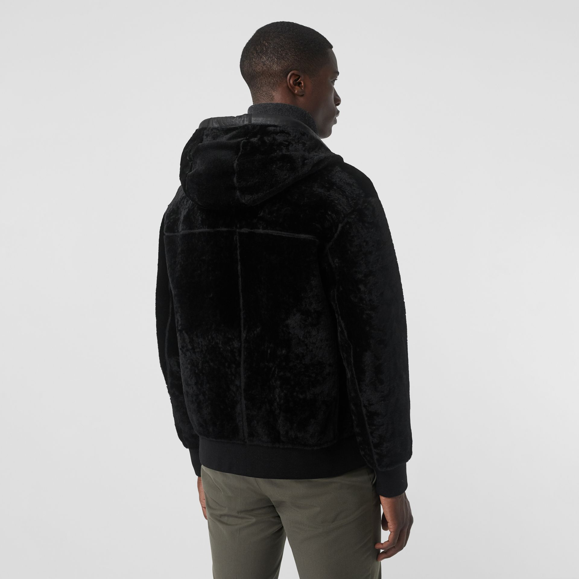 Reversible Shearling Hooded Bomber Jacket in Black - Men | Burberry United Kingdom - gallery image 2