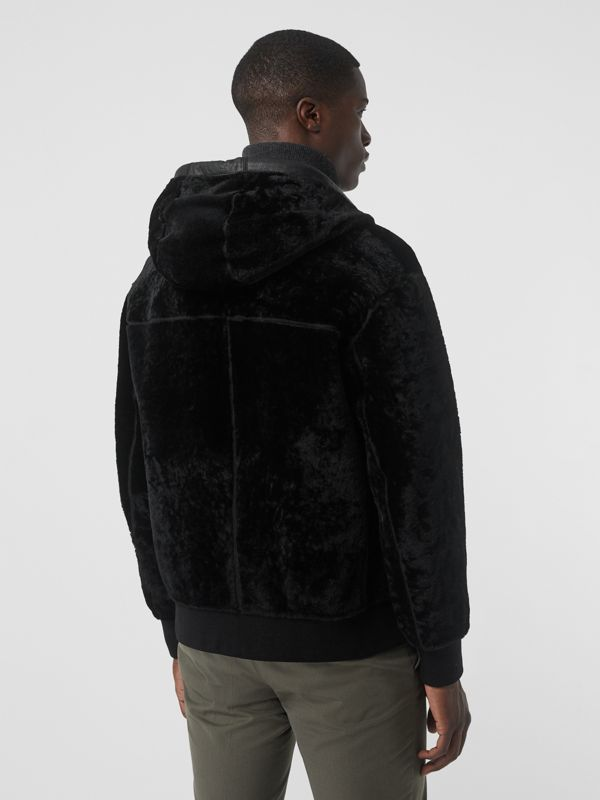Reversible Shearling Hooded Bomber Jacket in Black - Men | Burberry - cell image 2