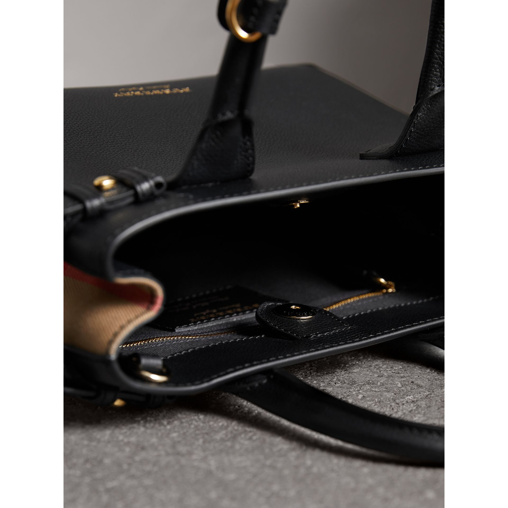 The Small Banner in Leather and House Check in Black - Women | Burberry United Kingdom - gallery image 5