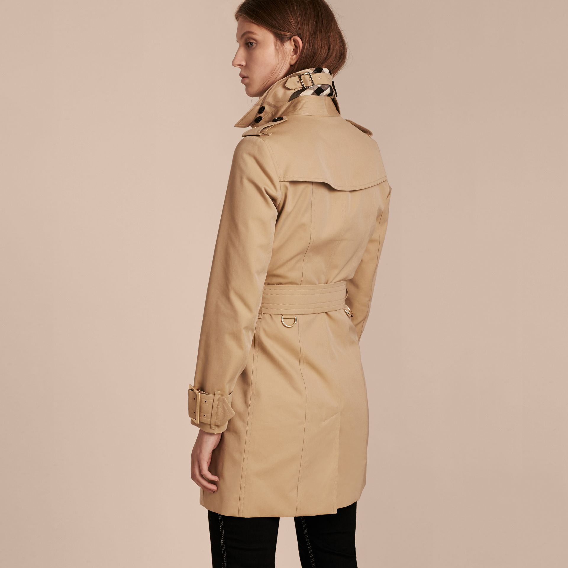 Honey Cotton Gabardine Trench Coat with Oversize Buckle Detail Honey - gallery image 3