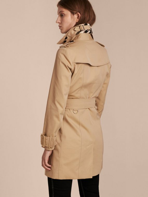 Honey Cotton Gabardine Trench Coat with Oversize Buckle Detail Honey - cell image 2