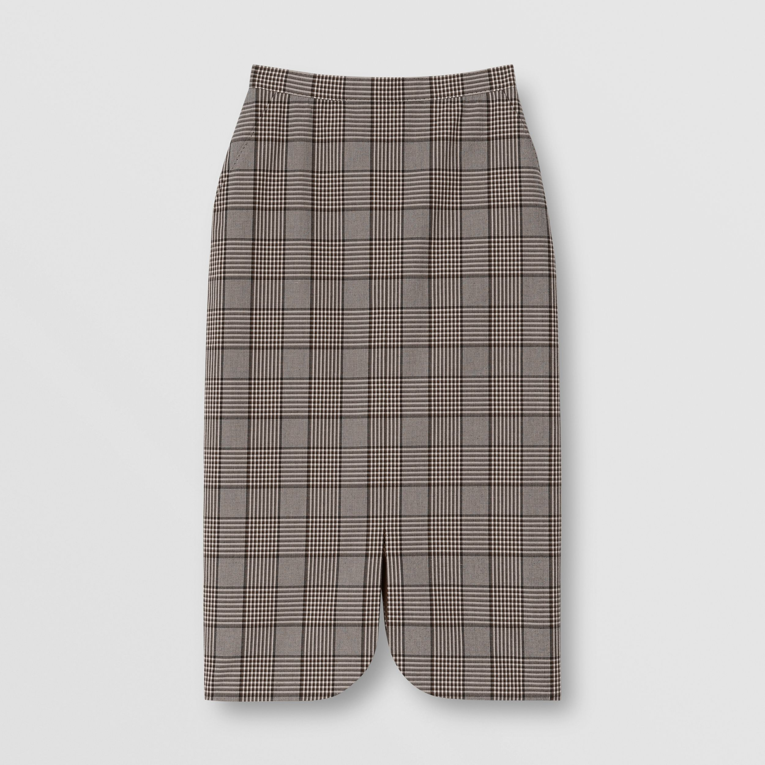 Check Wool Pencil Skirt in Deep Taupe - Women | Burberry - 4