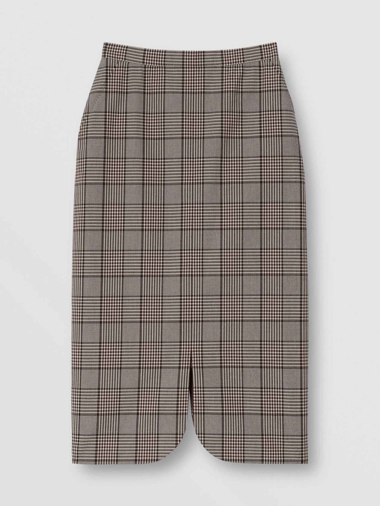 Check Wool Pencil Skirt in Deep Taupe