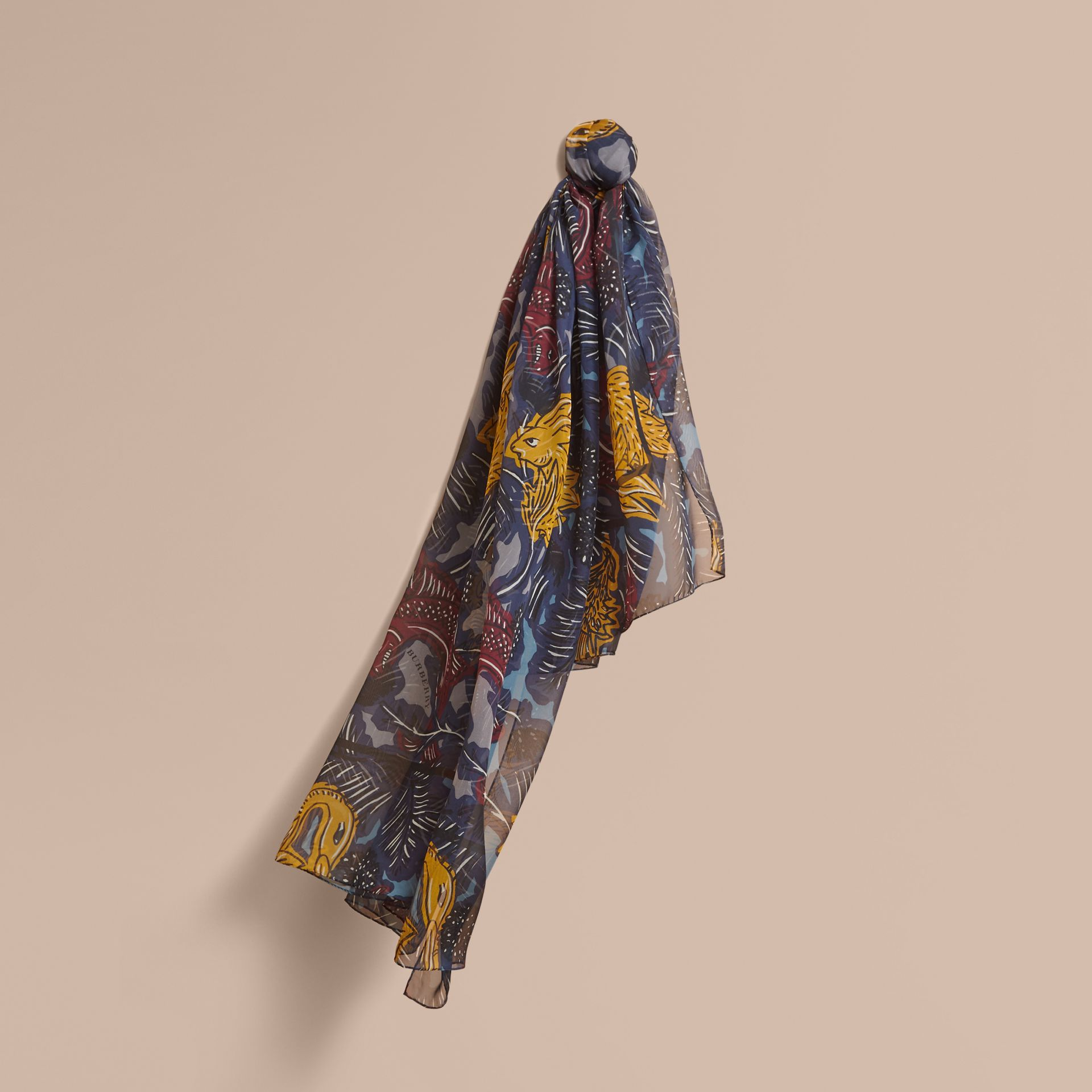 Beasts Print Lightweight Silk Scarf in Navy Grey - Women | Burberry - gallery image 1