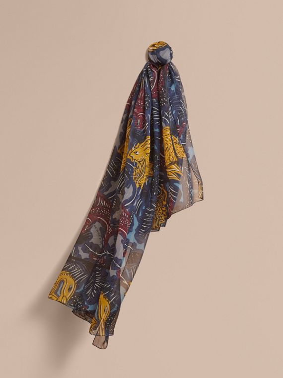 Beasts Print Lightweight Silk Scarf in Navy Grey
