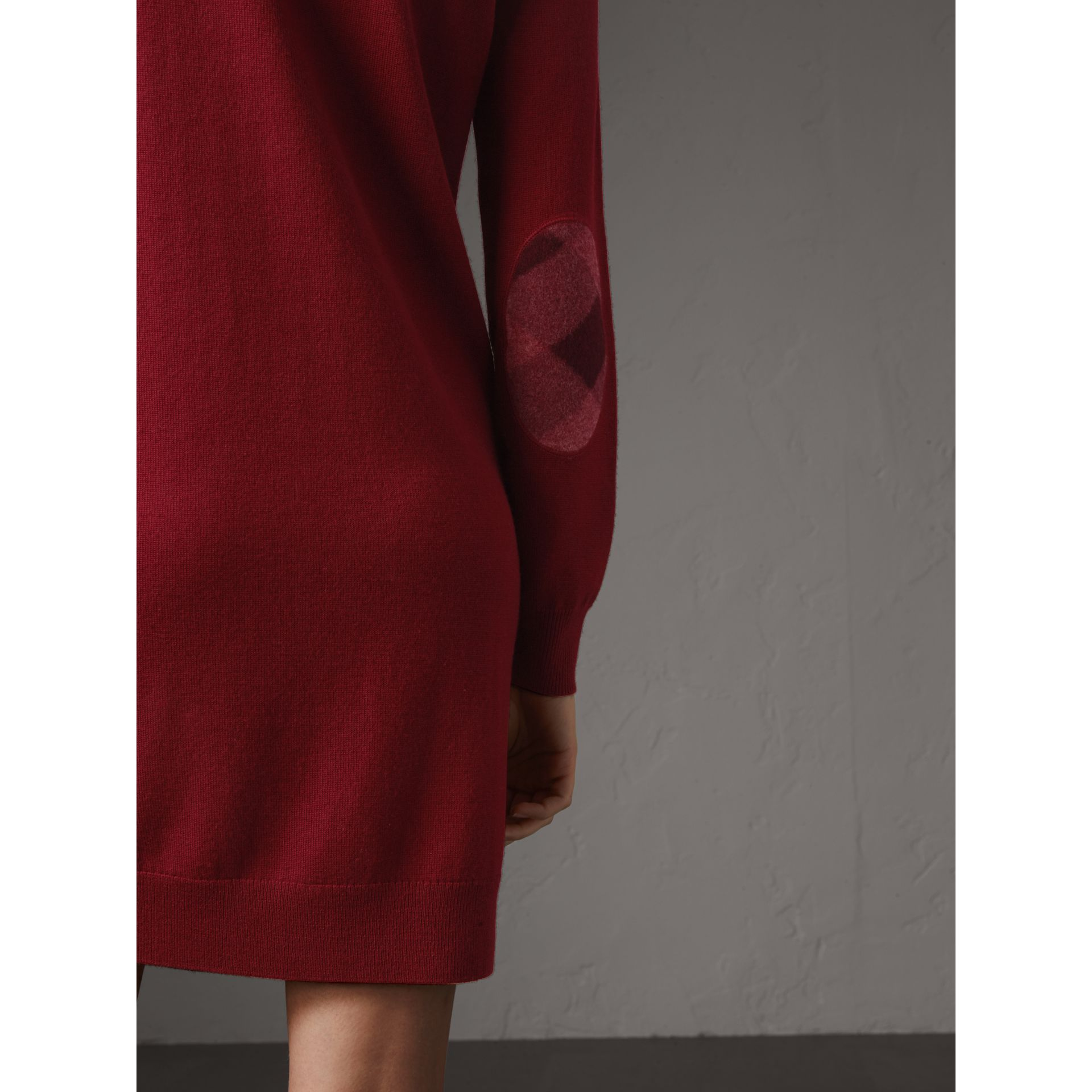 Check Elbow Detail Merino Wool Sweater Dress in Burgundy - Women | Burberry Canada - gallery image 1
