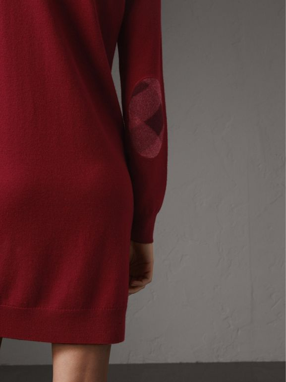 Check Elbow Detail Merino Wool Sweater Dress in Burgundy - Women | Burberry - cell image 1