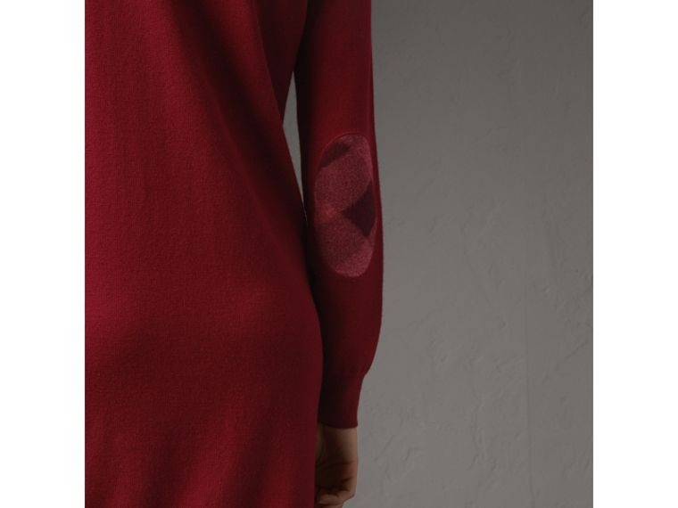 Check Elbow Detail Merino Wool Sweater Dress in Burgundy - Women | Burberry Canada - cell image 1