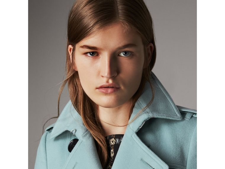 Sandringham Fit Cashmere Trench Coat in Pale Mineral Blue - Women | Burberry - cell image 4
