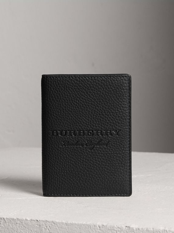 Embossed Leather Passport Holder in Black