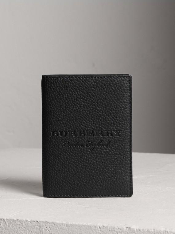 Обложка для паспорта из тисненой кожи (Черный)