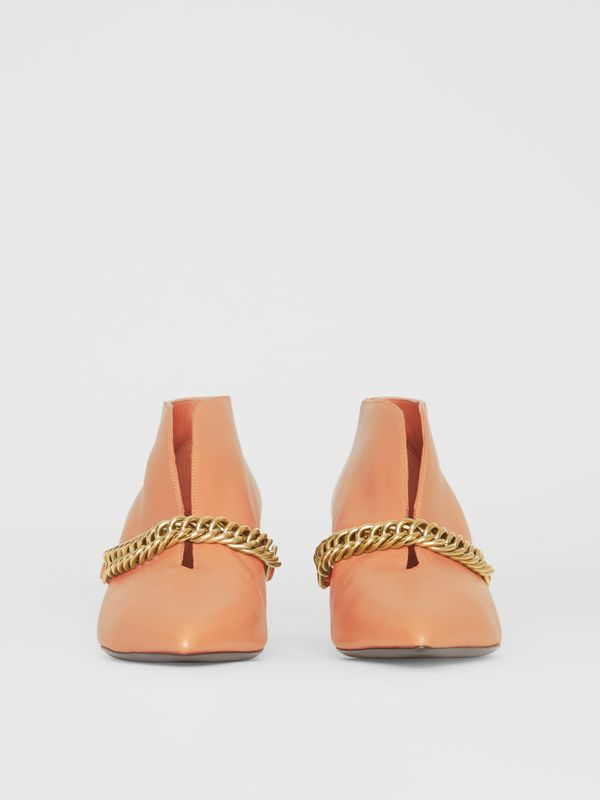 Link Detail Leather Ankle Boots in Russet Pink - Women | Burberry - cell image 3