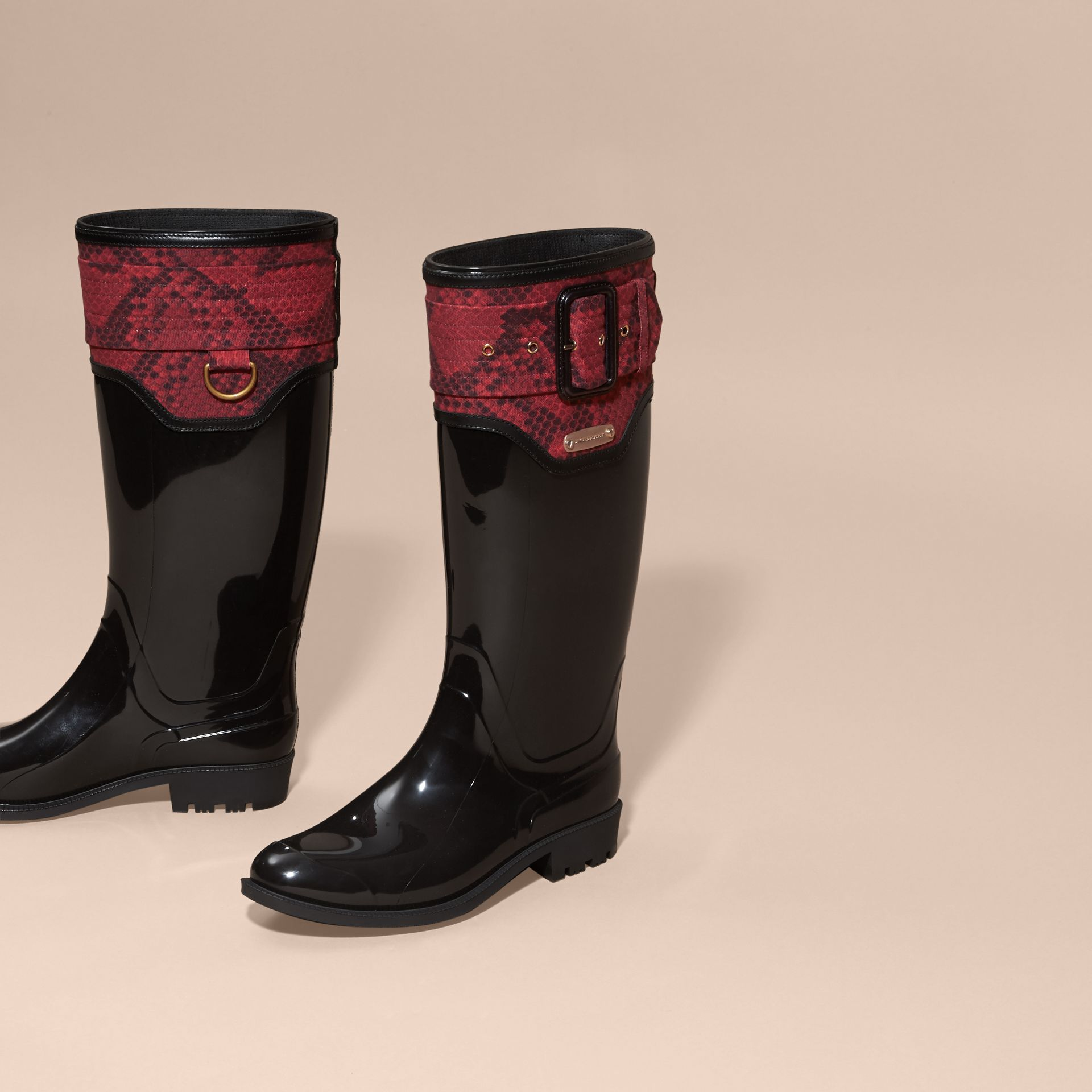 Black/windsor red Python Print Detail Rain Boots - gallery image 2