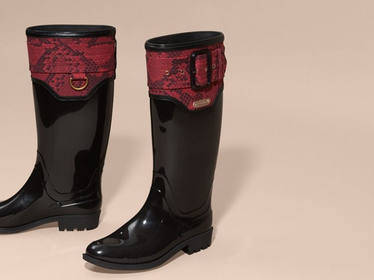 Black/windsor red Python Print Detail Rain Boots - cell image 1