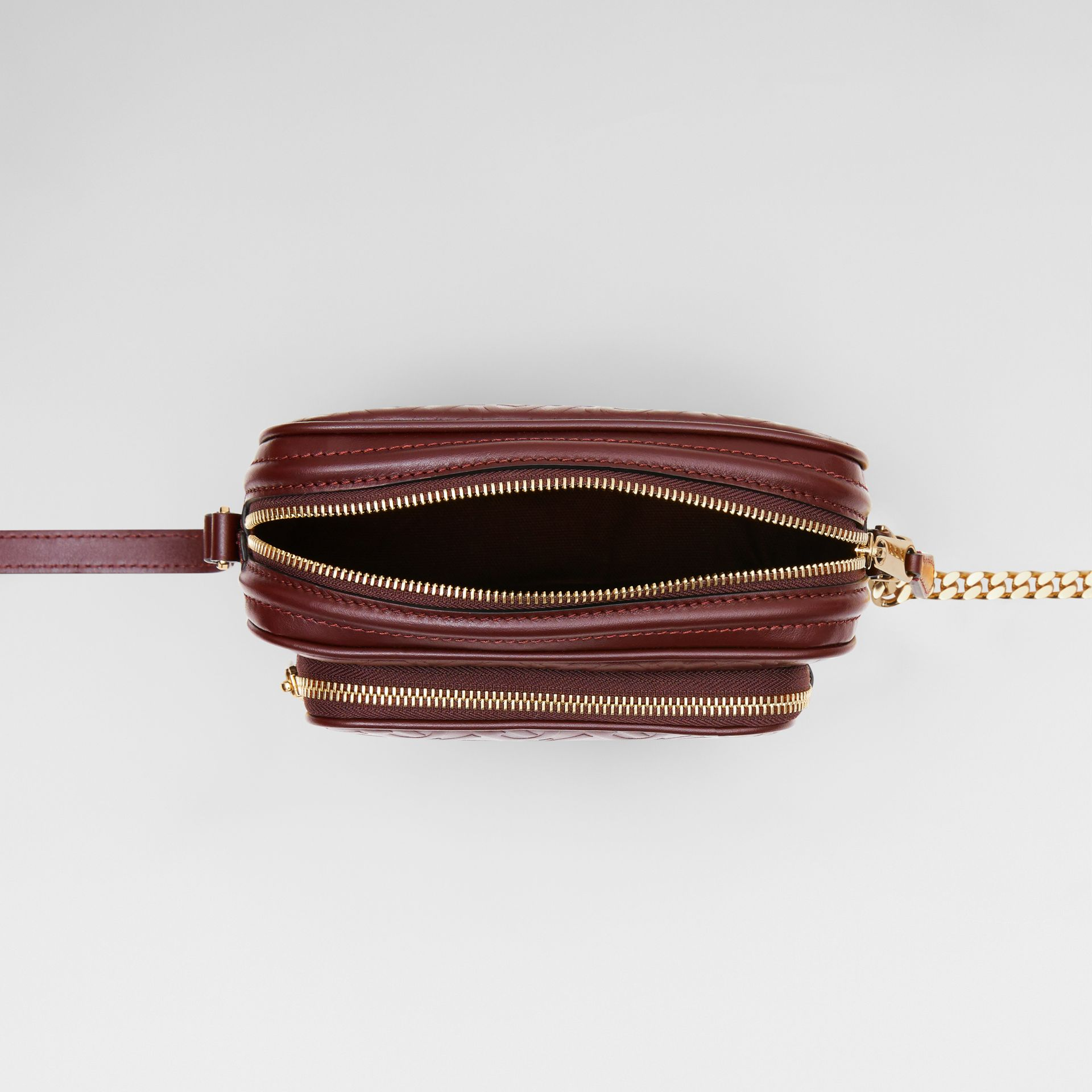 Monogram Leather Camera Bag in Dark Burgundy - Women | Burberry United States - gallery image 3