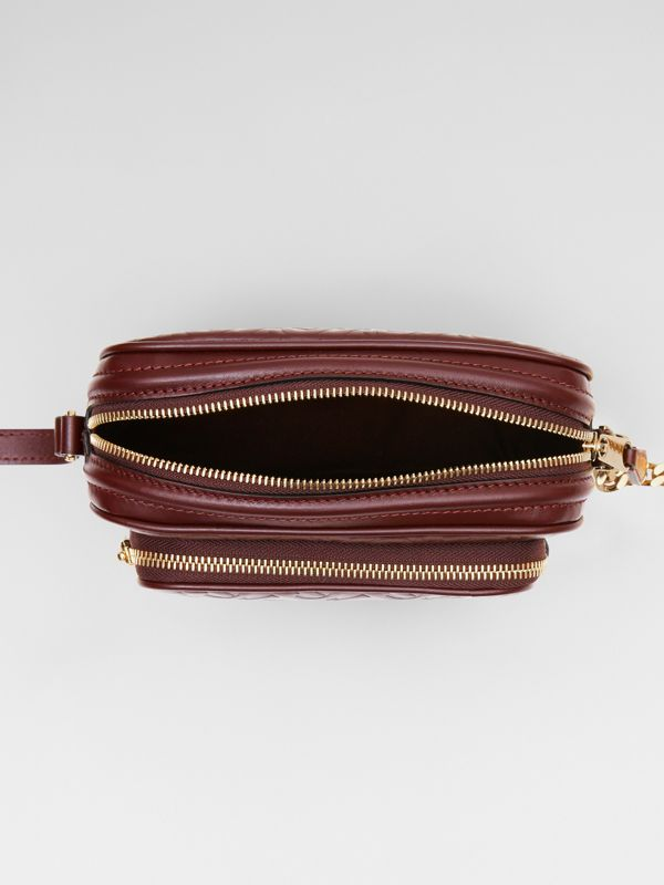 Monogram Leather Camera Bag in Dark Burgundy - Women | Burberry - cell image 3