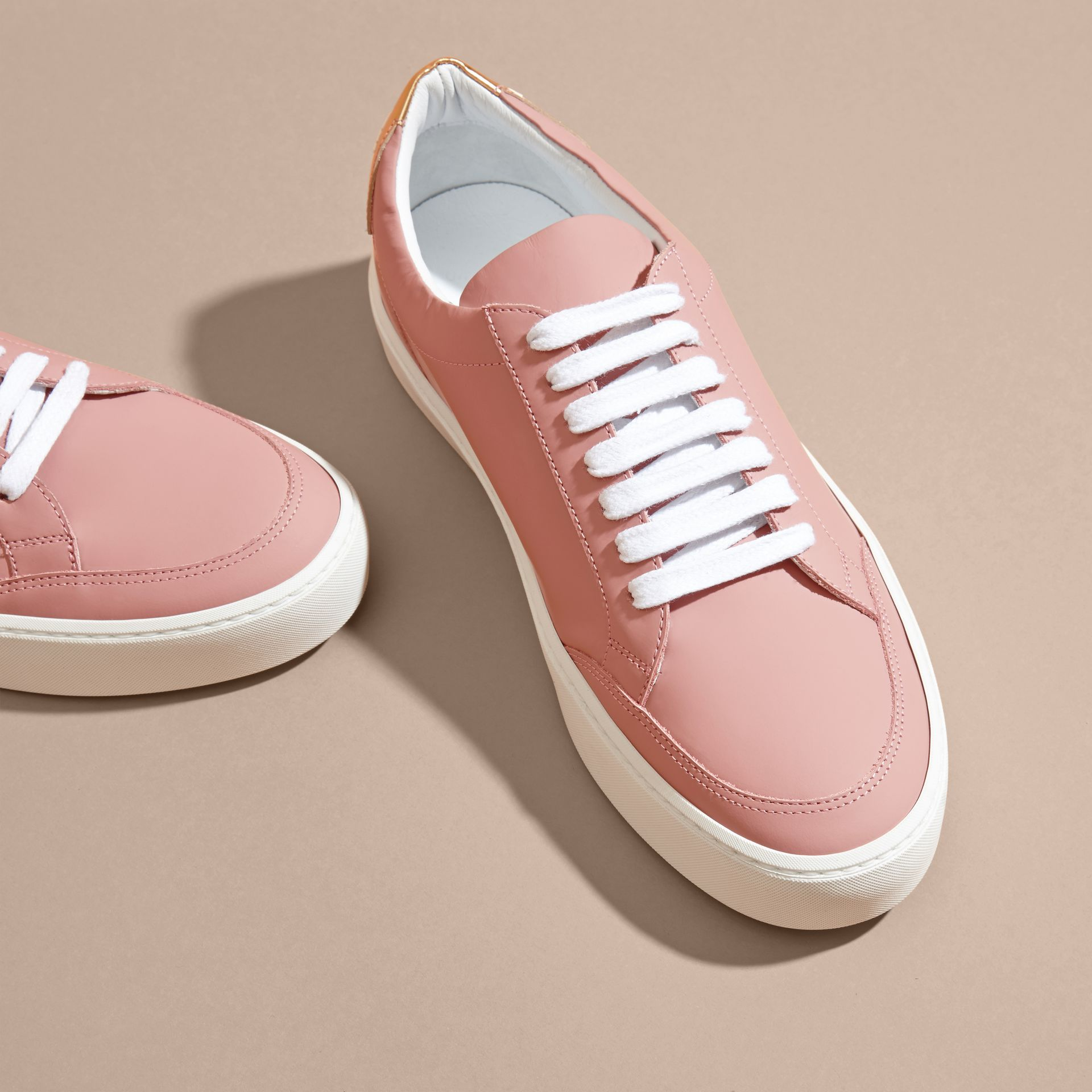 Metallic Detail Leather Sneakers Rose Pink - gallery image 3