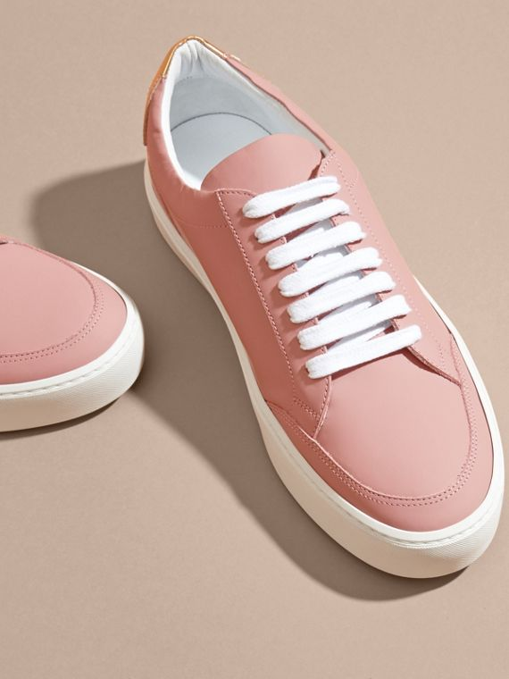 Metallic Detail Leather Sneakers Rose Pink - cell image 2