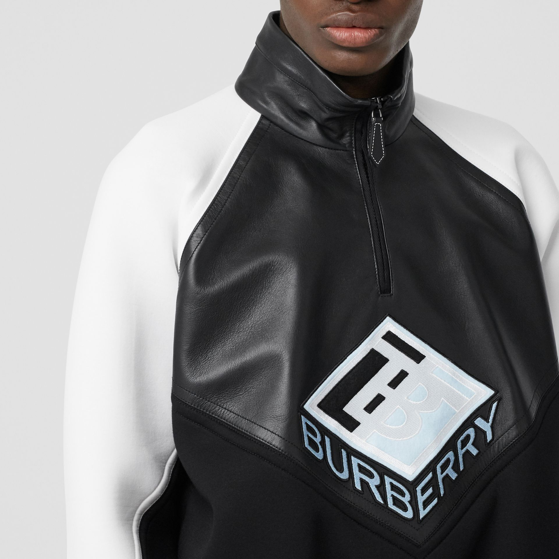 Logo Graphic Lambskin Funnel Neck Track Top in Black - Men | Burberry Hong Kong S.A.R - gallery image 1