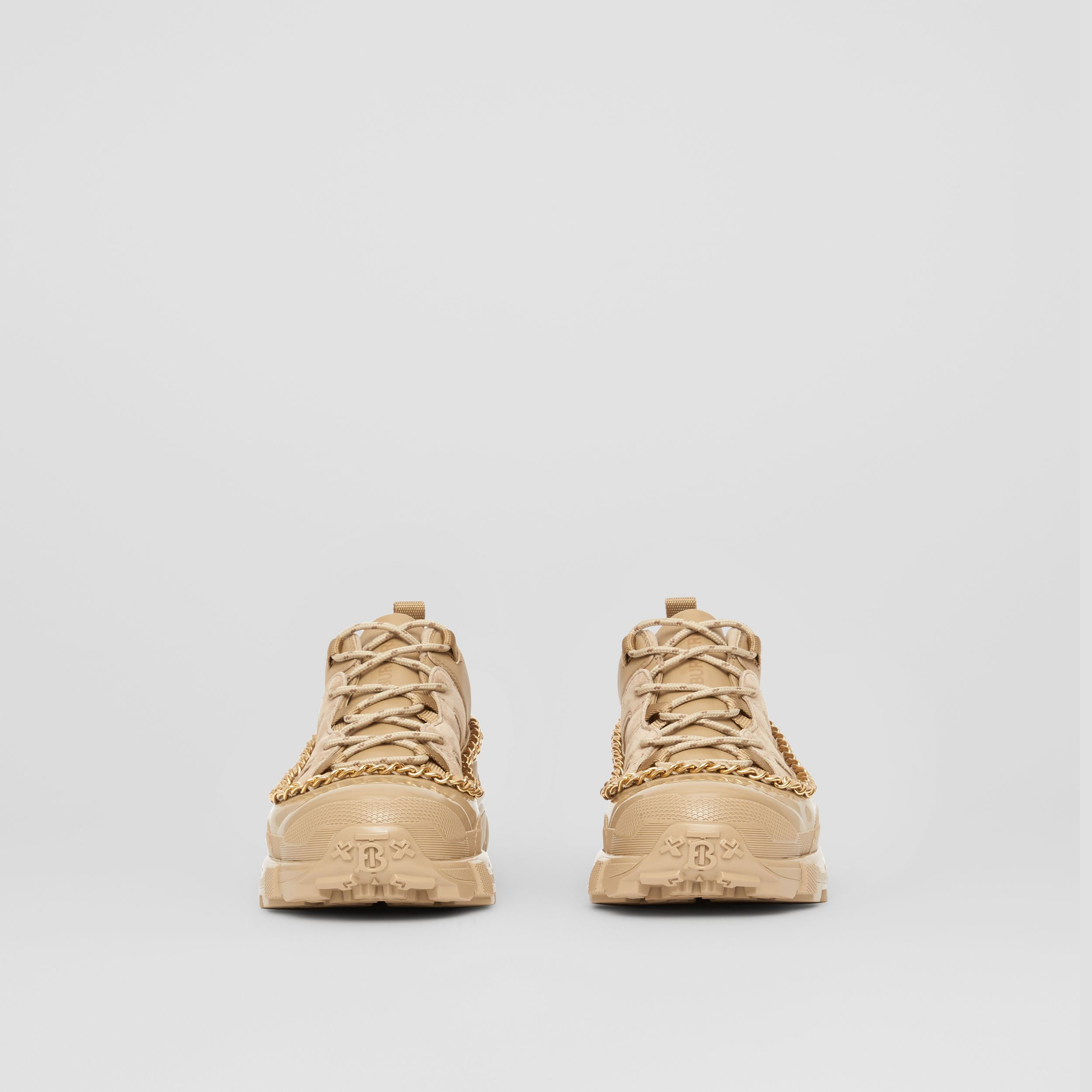 Chain Detail Suede and Leather Arthur Sneakers in Honey - Women | Burberry - 3