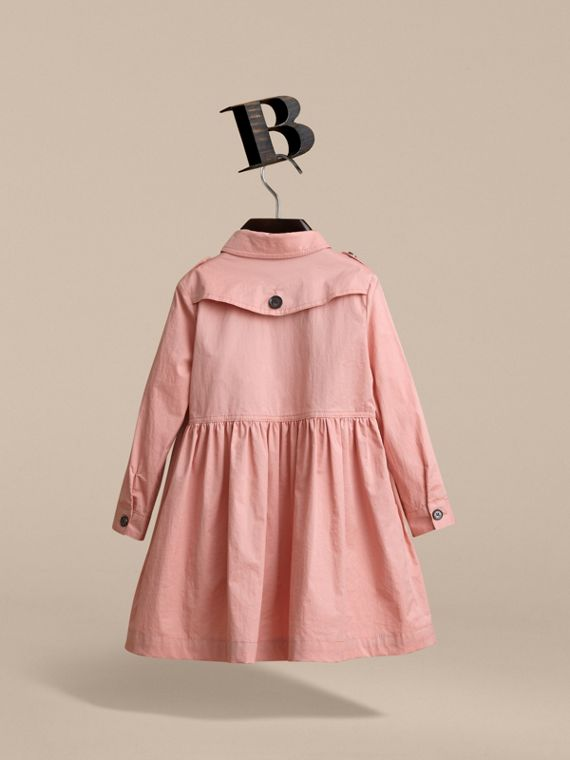 Check Detail Stretch Cotton Trench Dress in Pale Rose - Girl | Burberry - cell image 3