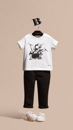 Beetle Motif Cotton T-shirt