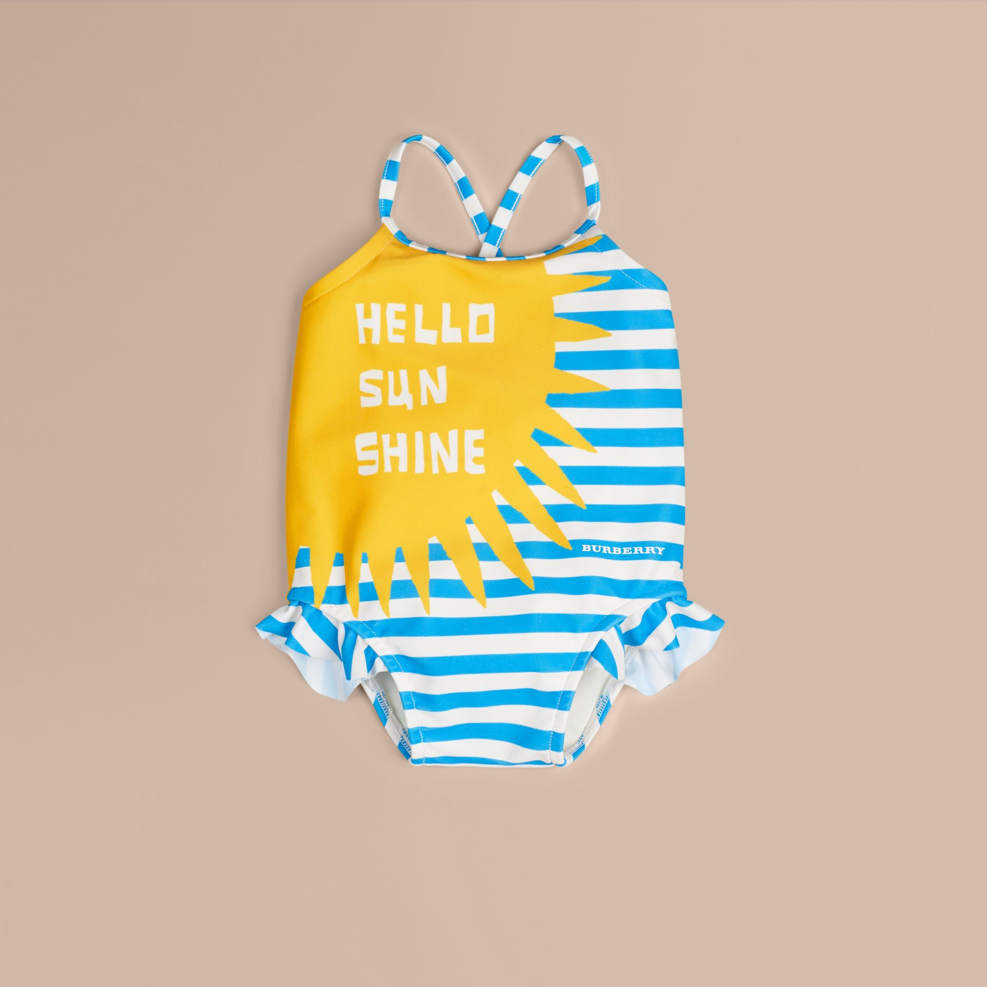 White Hello Sunshine Graphic One-piece Swimsuit - gallery image 1