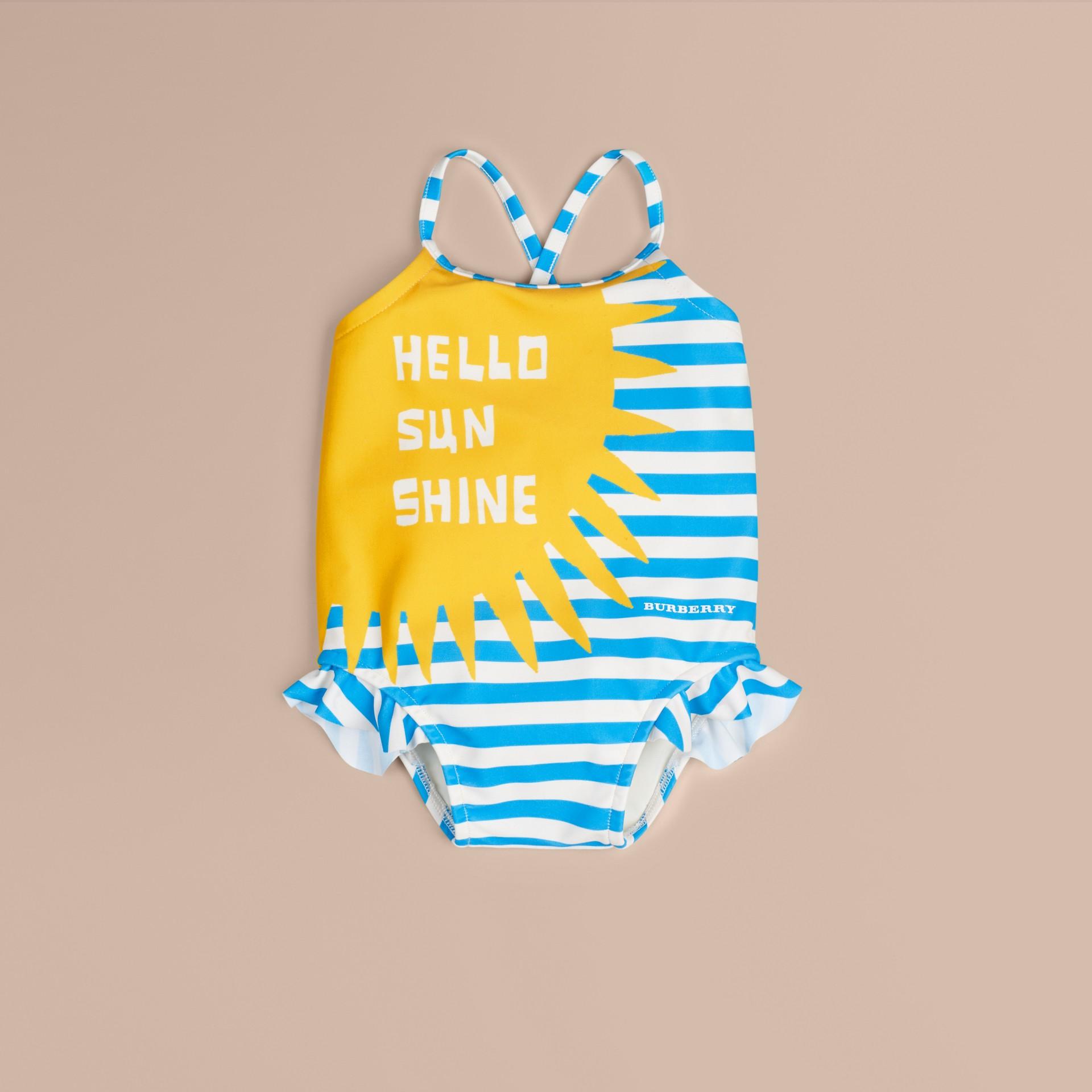 Blanc Maillot de bain une pièce à motif Hello Sunshine - photo de la galerie 1