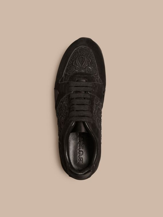 Black The Field Sneaker in Lace and Suede - cell image 2