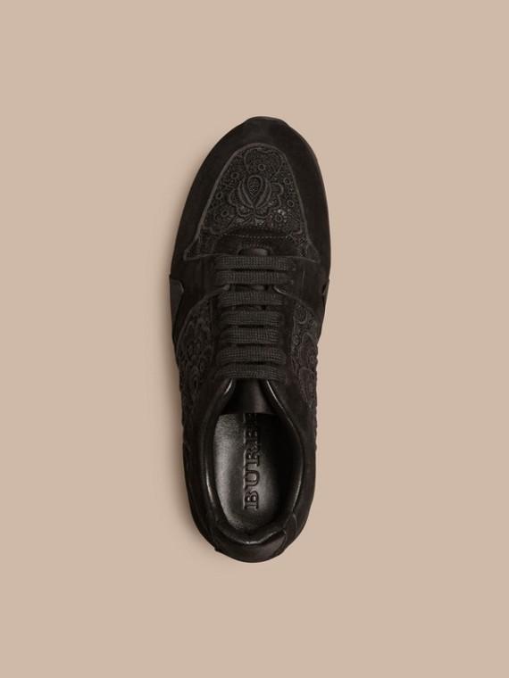黑色 The Field 蕾絲與麂皮野地運動鞋 - cell image 2