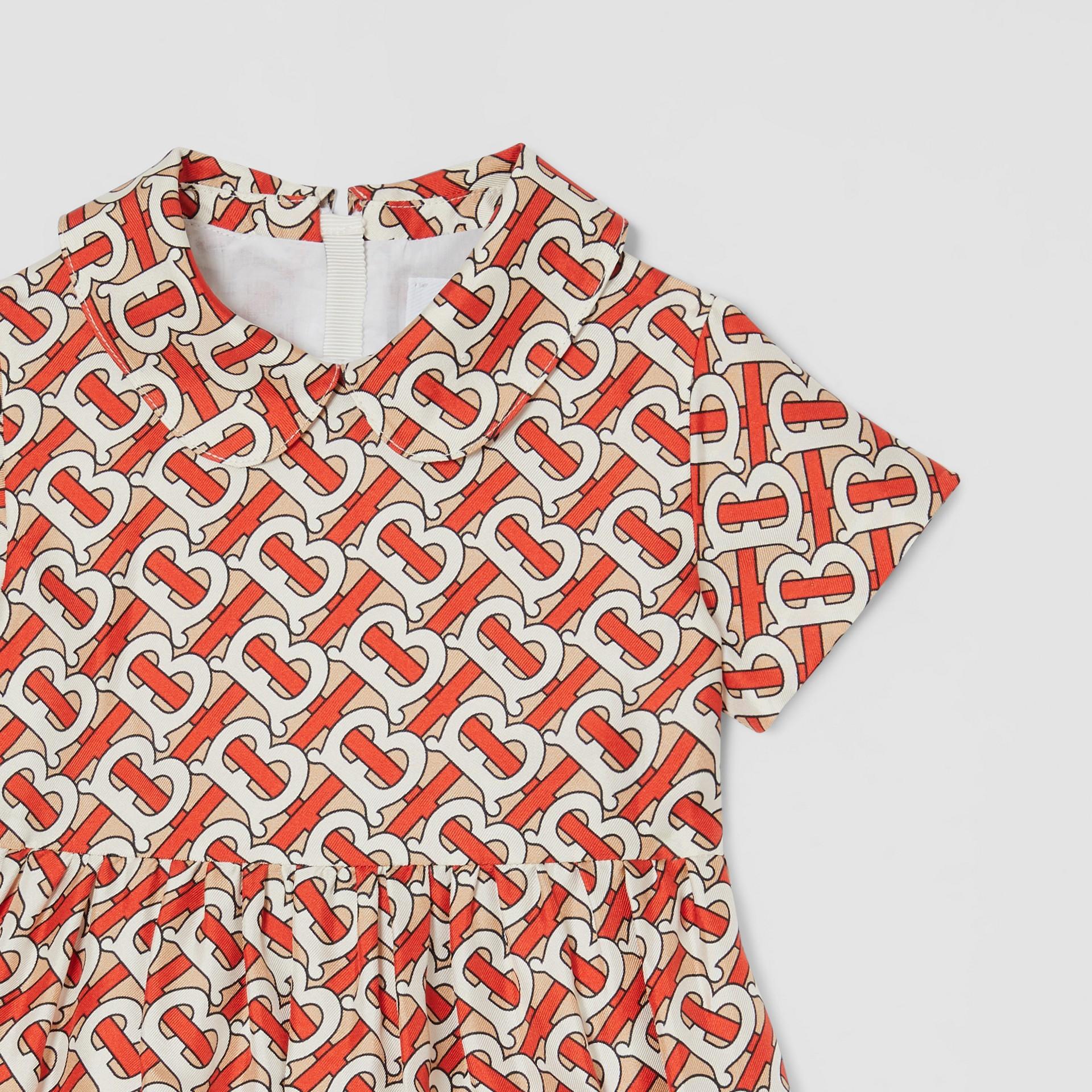 Peter Pan Collar Monogram Print Silk Dress in Vermilion Red - Children   Burberry - gallery image 4